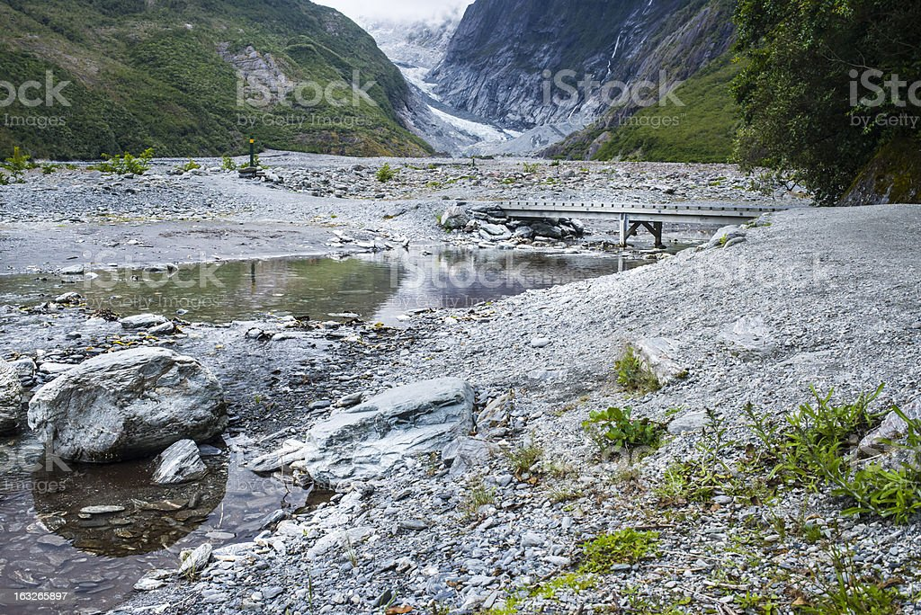 Glacier with bridge and beatiful nature around royalty-free stock photo