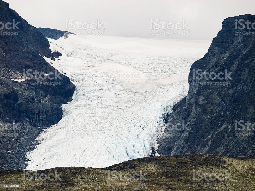 Glacier with crevasses royalty-free stock photo