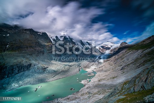 Großglockner glacier with glacial lake in austrian mountains on sunny summer day with clouds, long exposure