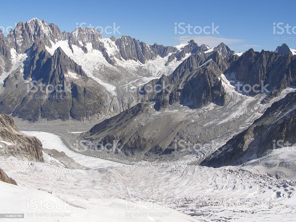 Glaciers an peaks in the Vallée Blanche stock photo