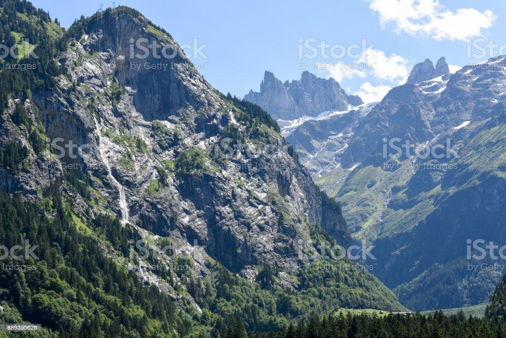 Glaciers over Engelberg on Switzerland stock photo