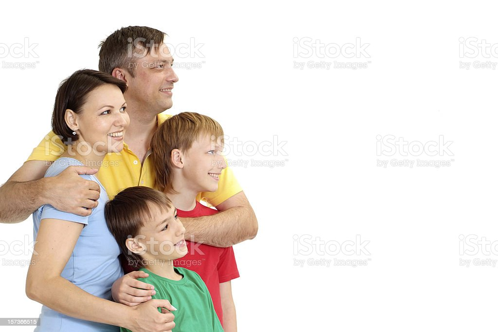 Glad family in bright T-shirts royalty-free stock photo