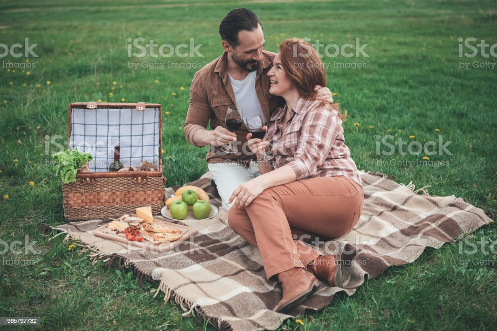 Glad married couple having picnic on holiday in the nature - Royalty-free Abraçar Foto de stock