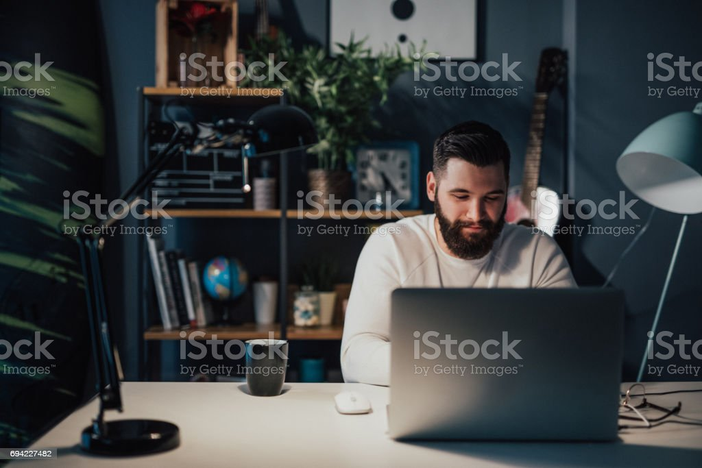 Glad that I'm almost finished with this project stock photo
