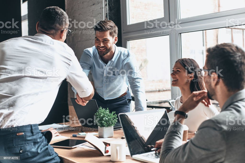 Glad to work with you! - foto stock