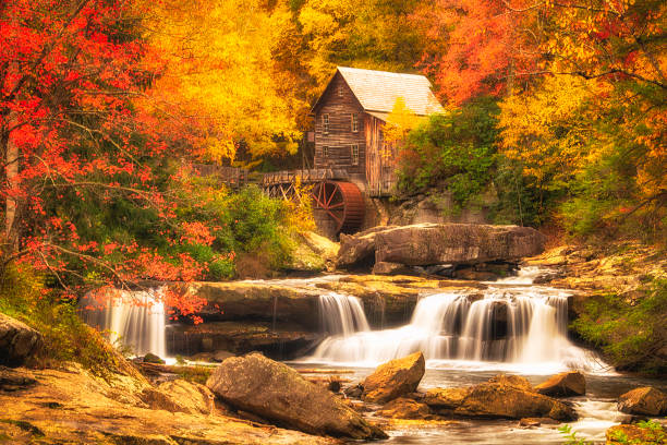 Glade Creek Mill Babcock State Park West Virginia stock photo
