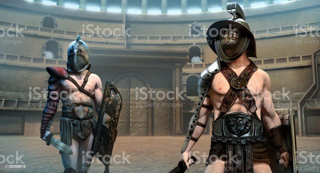 Gladiators in an arena scene 3D illustration