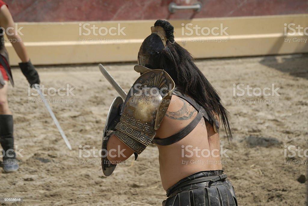 Gladiator Attack royalty-free stock photo