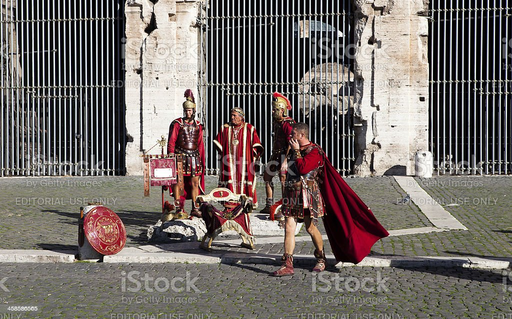 gladiators  at colleseum stock photo