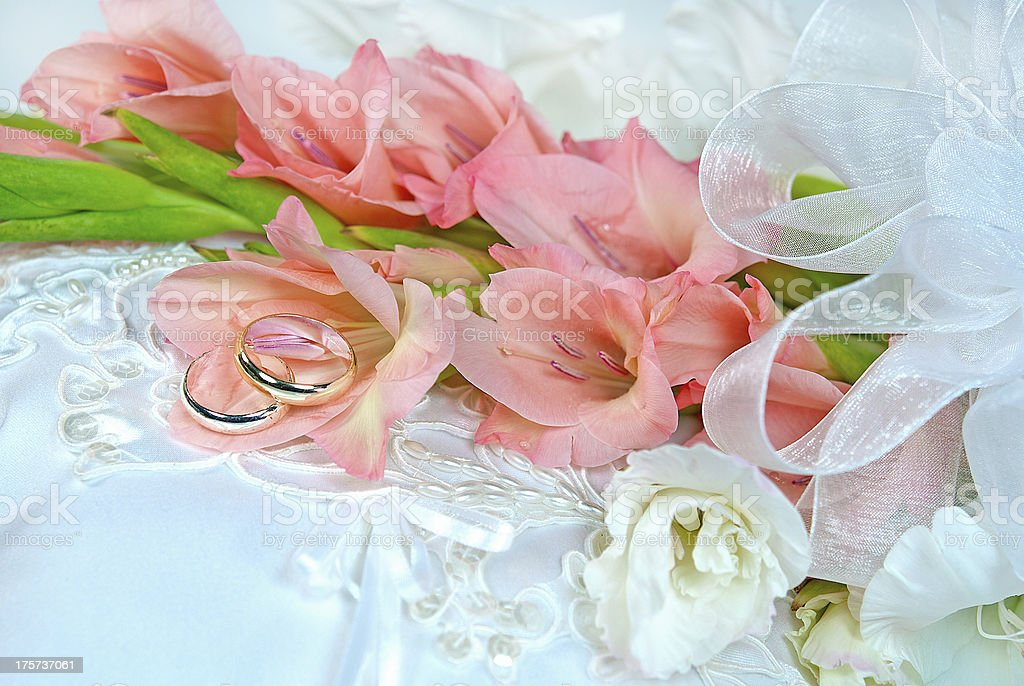 Gladiola wedding bouquet with rings royalty-free stock photo