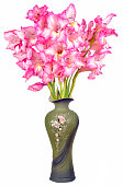 Still life of a bouquet of pink gladioli in a vintage ceramic vase isolated on a white background close-up.
