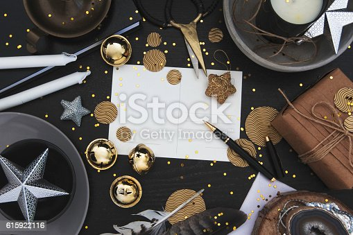 istock Glam Christmas background frame with blank greeting card 615922116