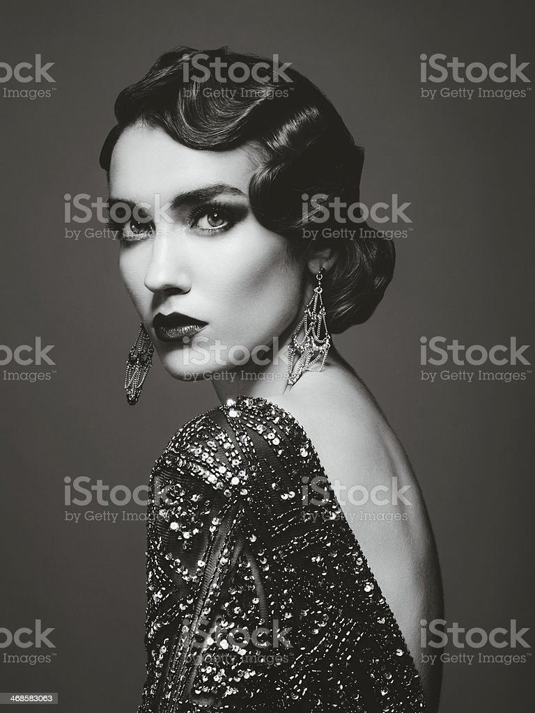 Glam retro diva stock photo