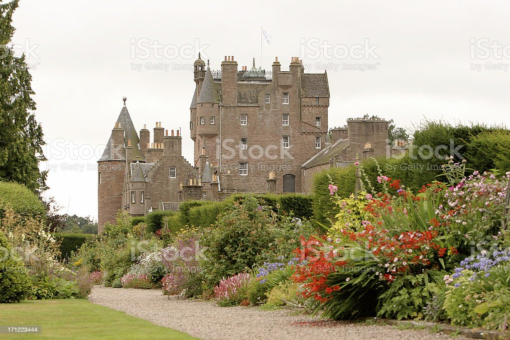 Glamis Castle and Gardens stock photo