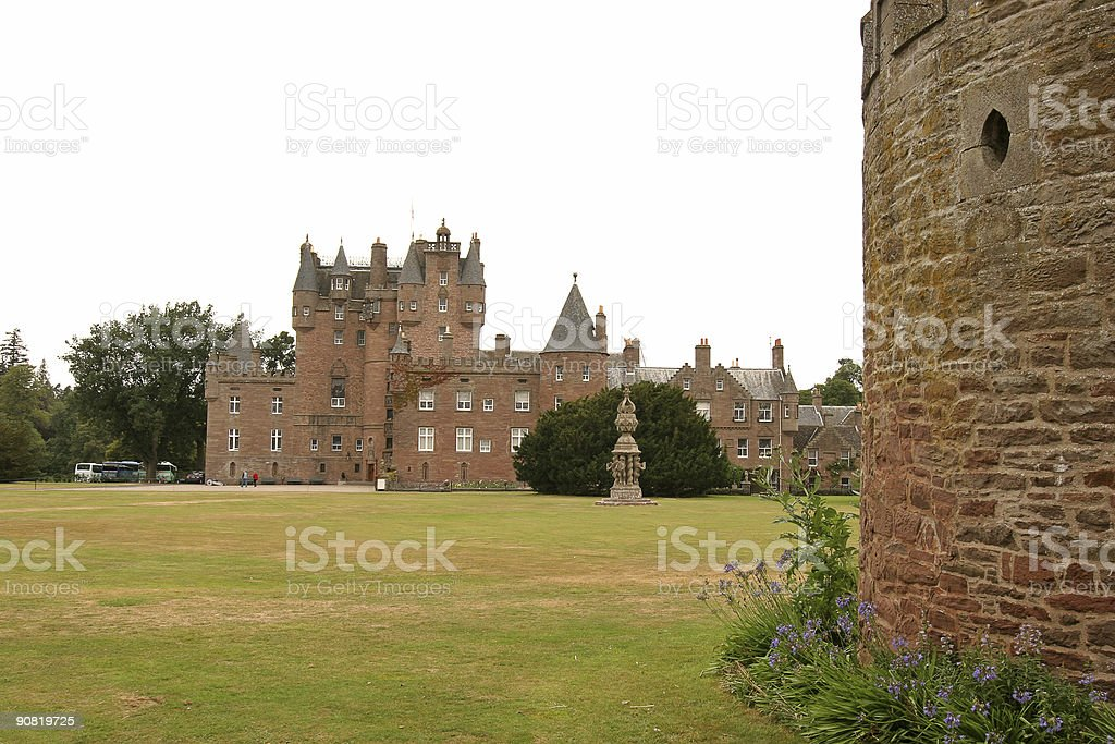 Glamis Castle and Tower stock photo