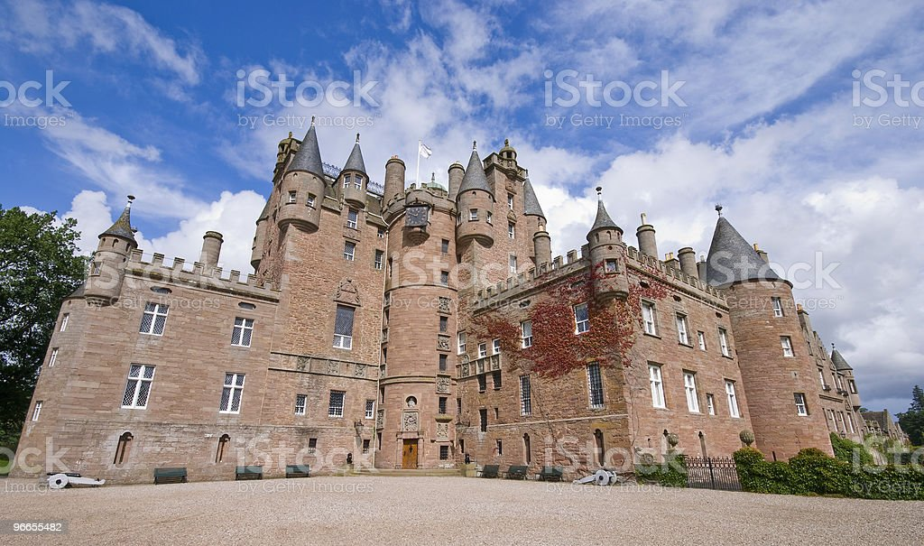 Glamis Castle in Scotland during the day stock photo