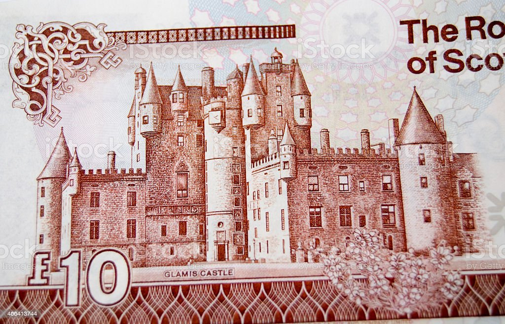 Glamis Castle on banknote stock photo