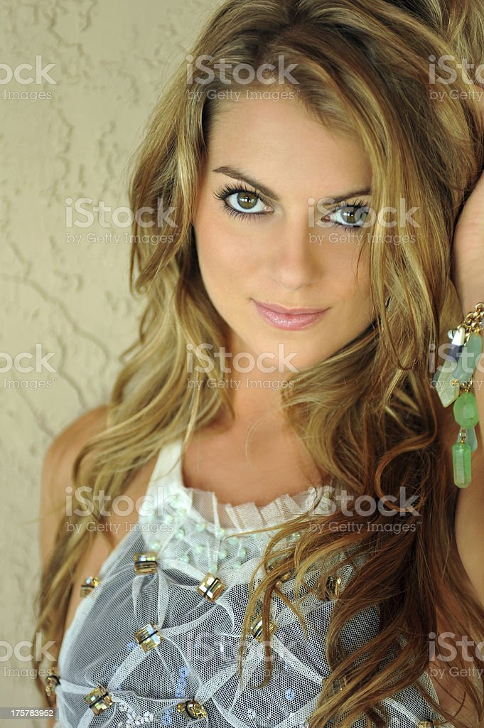 Glamor blond girl posing pretty outside royalty-free stock photo