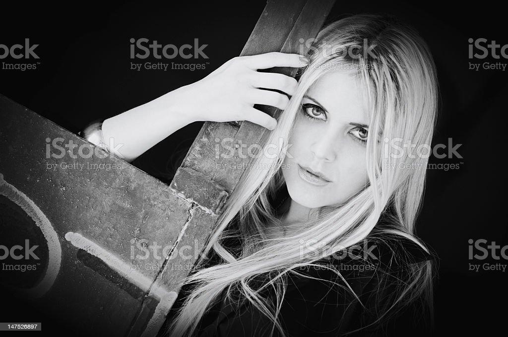 Glamorous blond woman stock photo