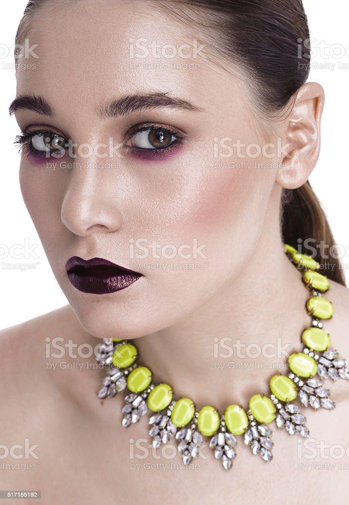 Glamorous brunette dark make-up stock photo