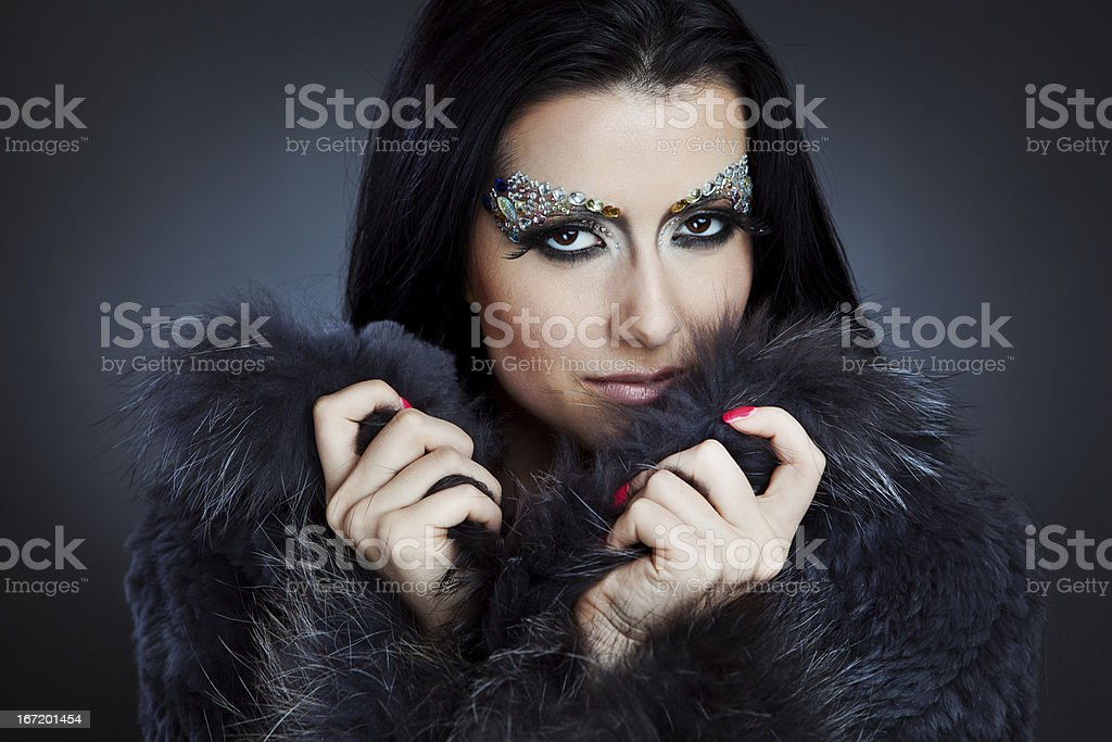 Glamorous caucasian woman with jewelry make-up royalty-free stock photo