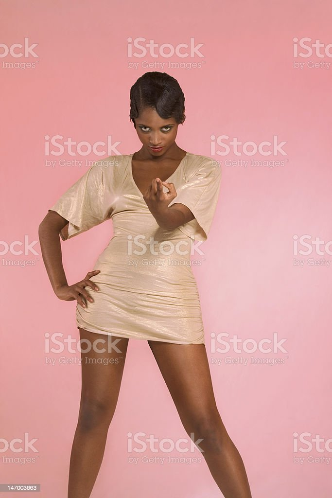 Glamorous ethnic woman in sexy flirting pose royalty-free stock photo