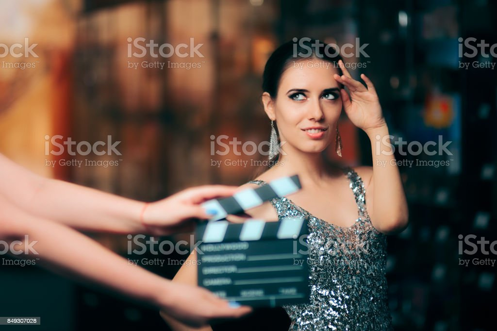 Glamorous Model Starring in Fashion Campaign Video Commercial stock photo