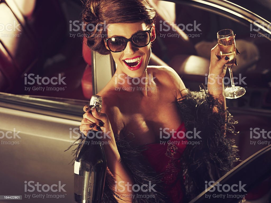 Glamorous Woman Celebrating New Year With Champagne royalty-free stock photo