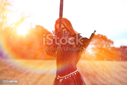 168589045 istock photo Glamorous woman grateful for nature and good health 1222498769