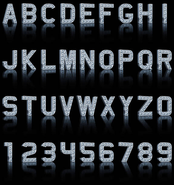 glamour alphabet on black - stone font stock photos and pictures