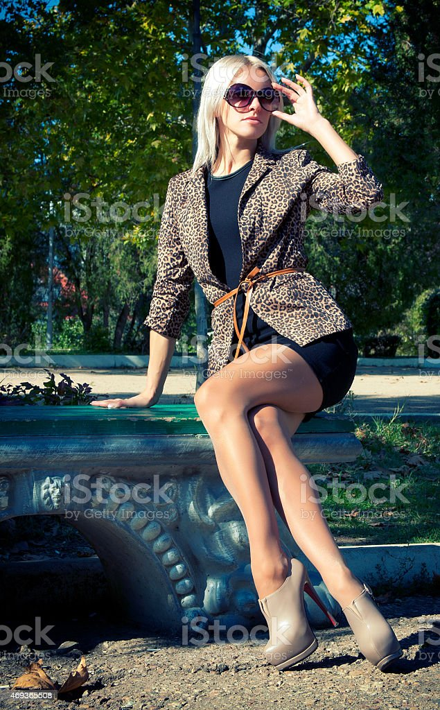 Glamour Beautiful blonde in a jacket stock photo