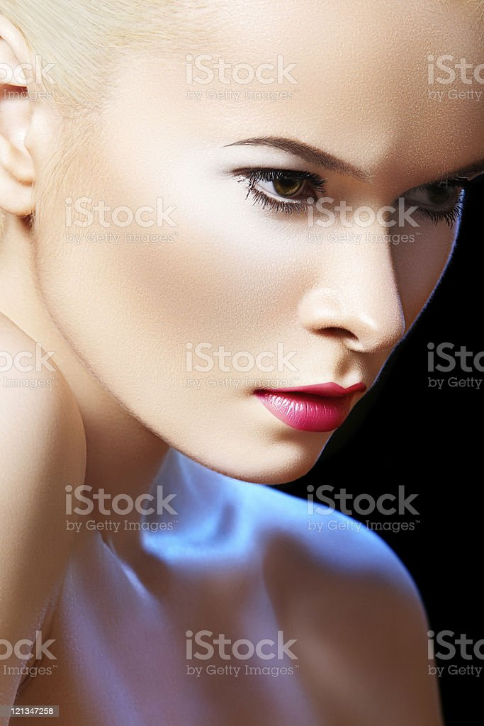 Glamour beauty model with bright fashion make-up stock photo