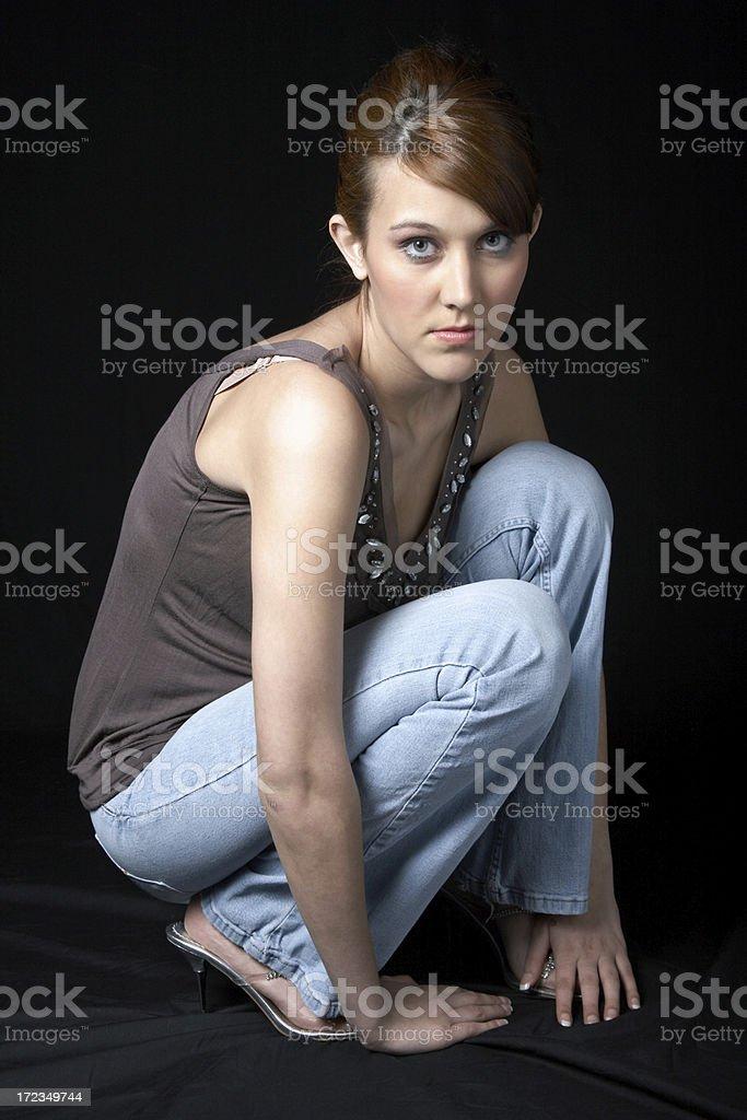 Glamour Girl on Black royalty-free stock photo