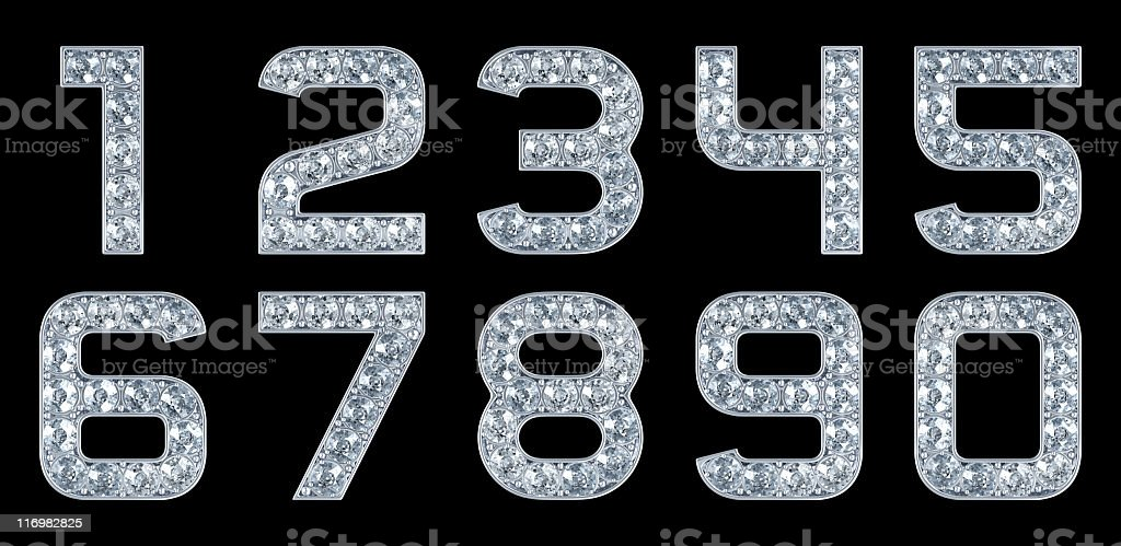 Glamour Numerals. Isolated on black stock photo