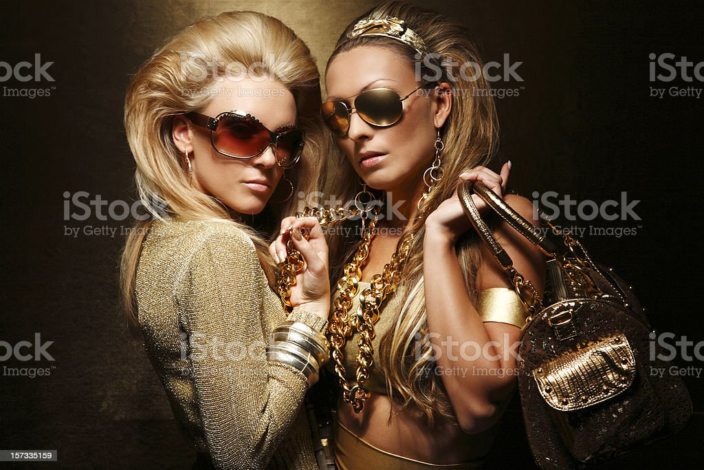 Glamour Party Girls Glamorous woman in gold Adult Stock Photo