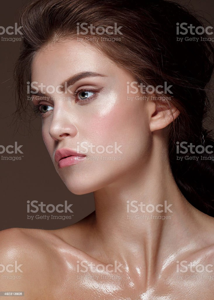 Glamour portrait of beautiful woman stock photo