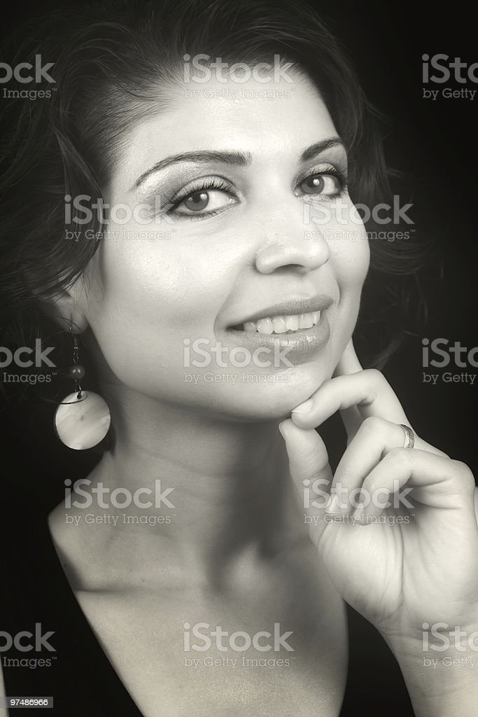 Glamour portrait of cute woman with sensual eyes royalty-free stock photo