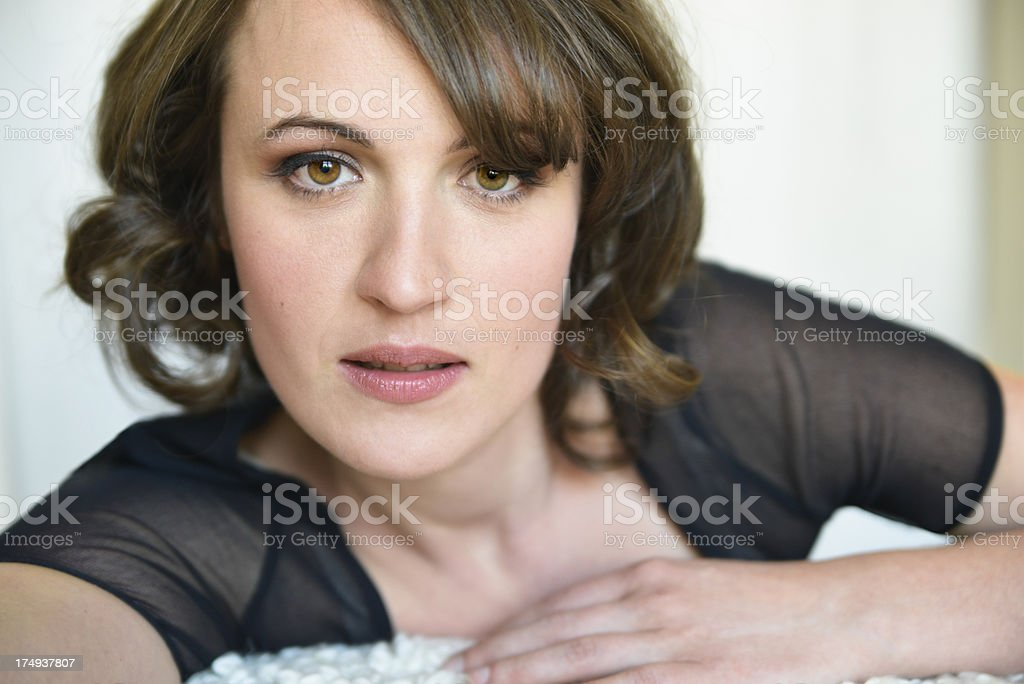 Glamour portrait of real woman in her thirties, horizontal royalty-free stock photo