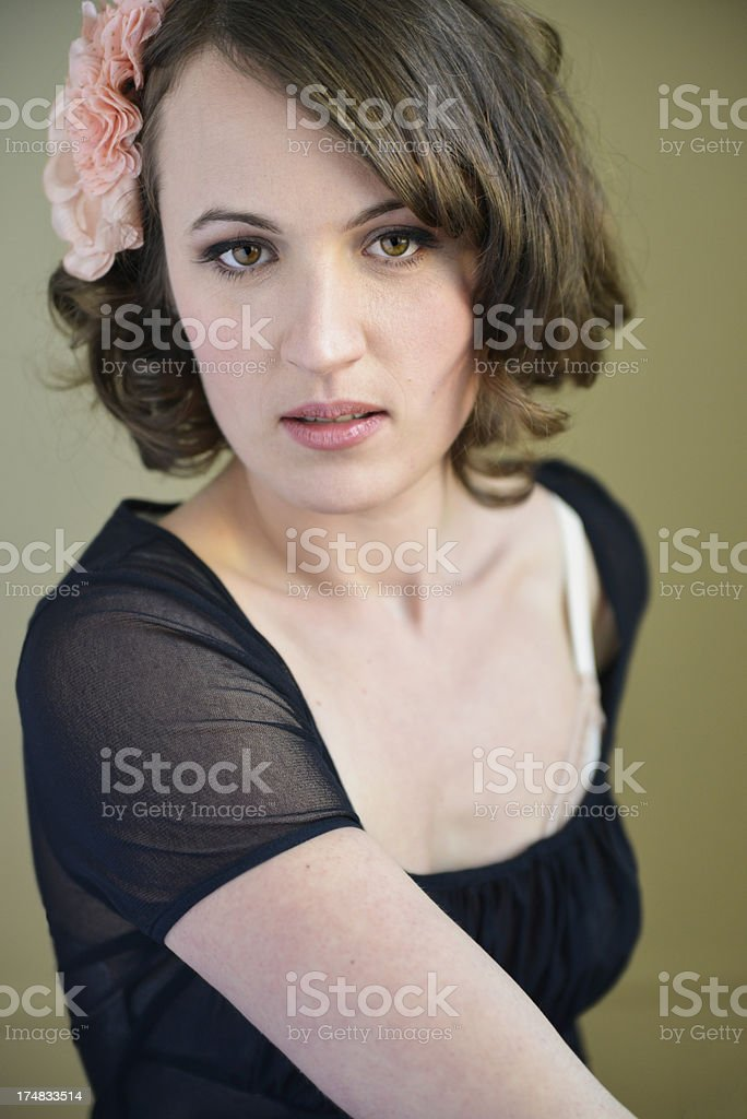 Glamour portrait of real woman in her thirties, vertical royalty-free stock photo