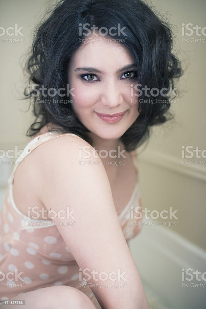 Glamour portrait of real woman in her twenties, vertical royalty-free stock photo