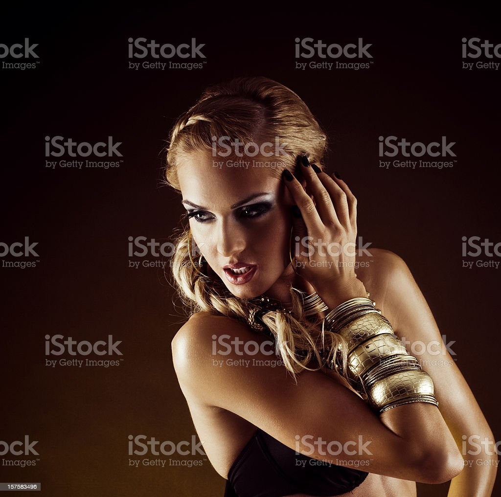 Glamour portrait of woman posing in a bikini stock photo