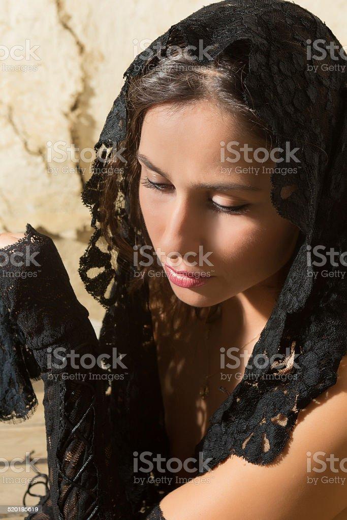 Glamour widow stock photo