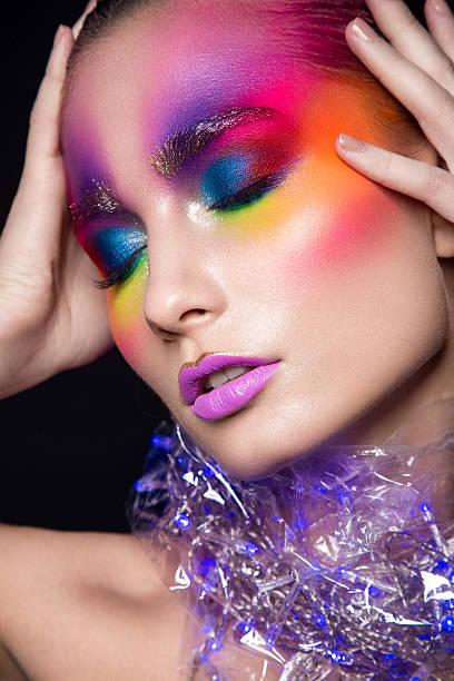 glamour woman portrait. - regenbogen make up stock-fotos und bilder