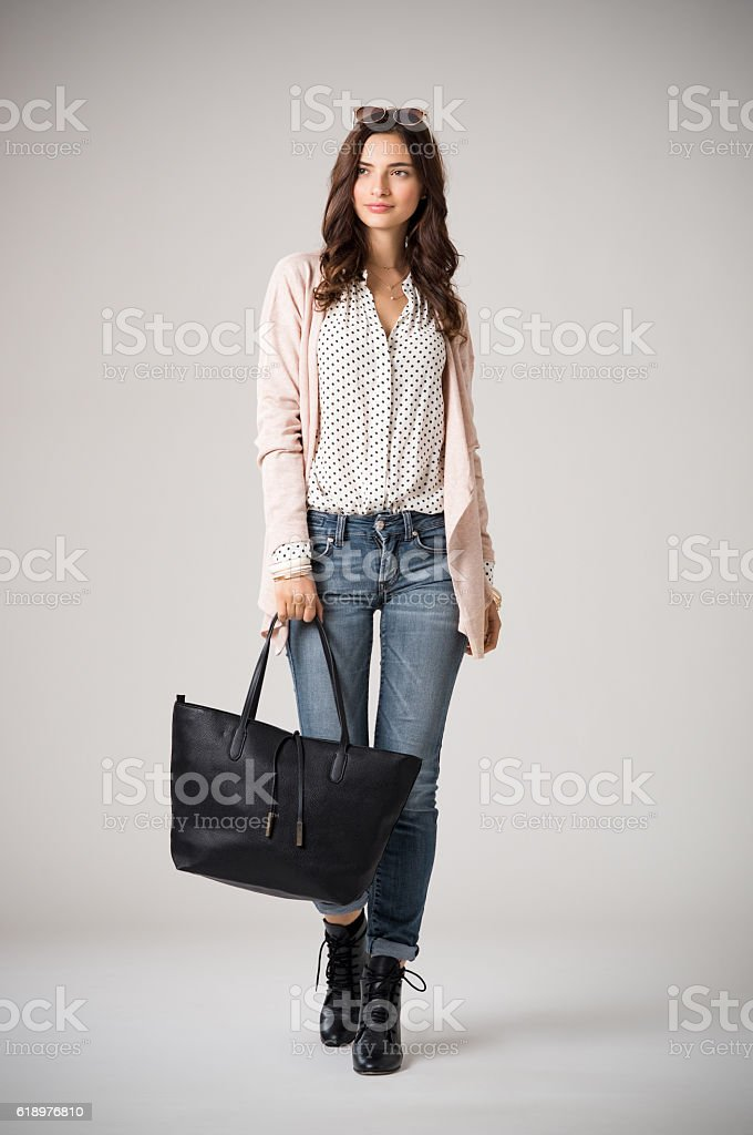 Glamour woman walking stock photo