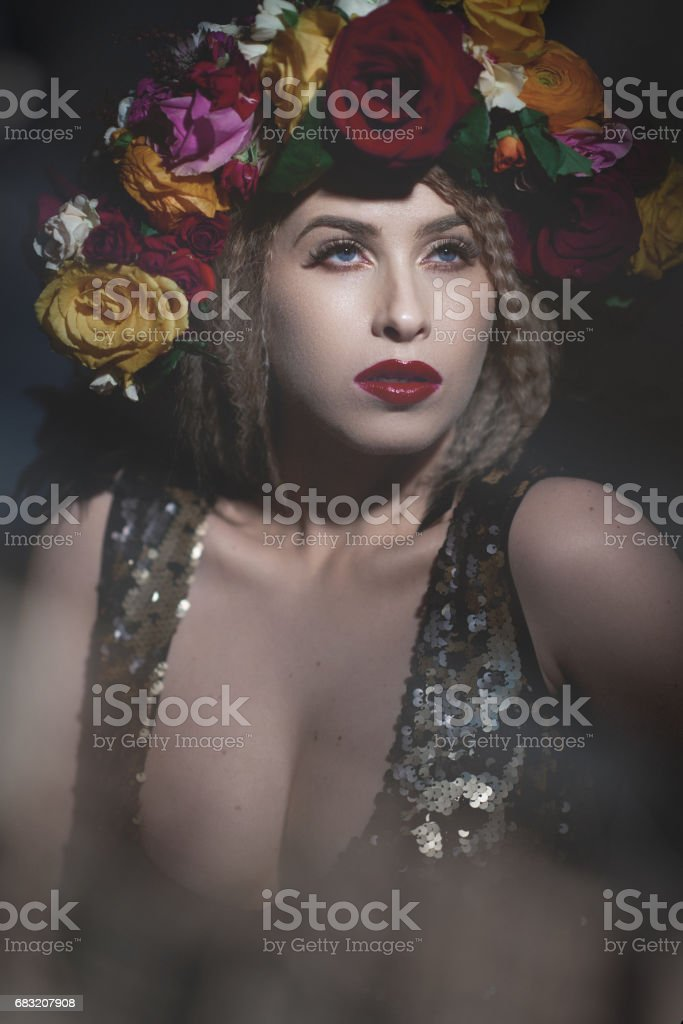 glamour woman wearing flower crown royalty-free stock photo
