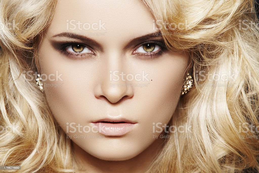 Glamour woman with make-up & chic shiny jewellery royalty-free stock photo