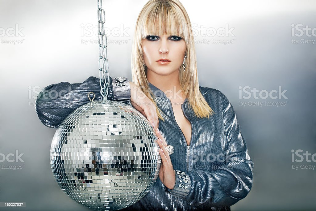 Glamourous woman in silver royalty-free stock photo