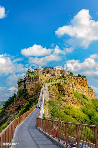 CIVITA DI BAGNOREGIO, VITERBO, LAZIO, ITALY - October 1, 2018: View of the medieval village among the most beautiful in Italy, which stands on a tufa hill in the valley of the calanchi, called