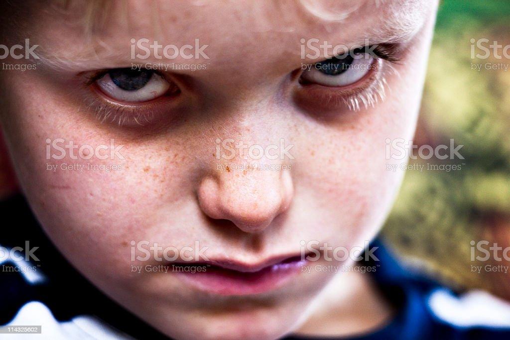 Glaring Child Boy Looks Sulky Cross Hostile Stock Photo