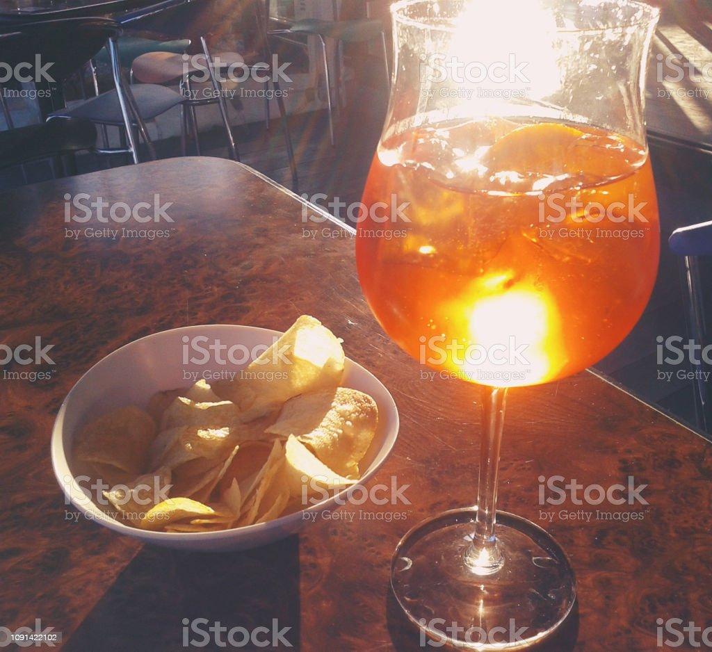 A glas of Aperol Spritz - Italy -  Taken on Mobile Device stock photo